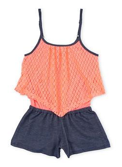 Girls 4-6x Denim Knit Romper with Crochet Overlay - 1618061950002