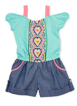 Girls 7-16 Cold Shoulder Graphic Chambray Romper - 1619021280002