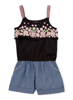 Girls 7-16 Sleeveless Abstract Knit Chambray Romper - 1619021280008