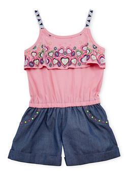 Girls 7-16x Heart Print Denim Short Romper - 1619021280009
