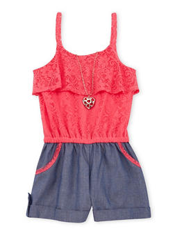 Girls 7-16 Sleeveless Crochet Chambray Romper with Necklace - 1619021280010