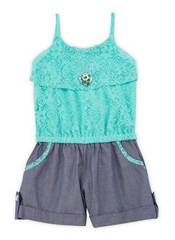 Girls 7-16 Lace Chambray Romper with Necklace - 1619021280011