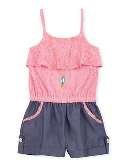 Girls 7-16 Sleeveless Lace Romper with Necklace - 1619021280013