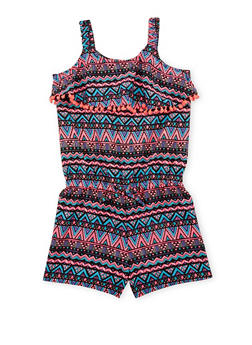 Girls 7-16 Printed Romper with Pom Pom Trimmed Overlay - 1619023130028