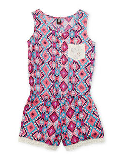 Girls 7-16 Printed Button Front Romper with Crochet Trim - 1619023130029