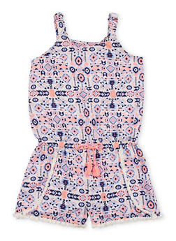 Girls 7-16 Sleeveless Printed Romper with Frayed Trim - 1619023130030