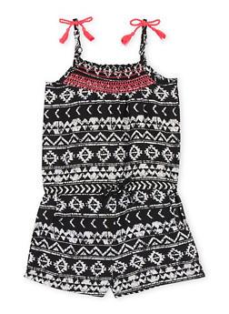 Girls 7-16 Sleeveless Aztec Printed Romper - 1619023130031