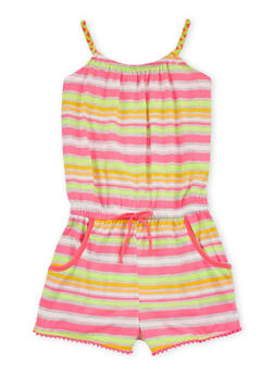 Girls 7-16 Striped Romper with Braided Straps - 1619023130034