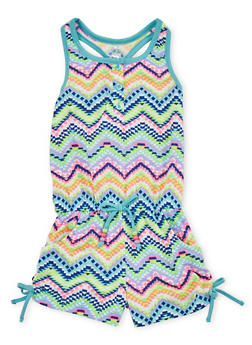 Girls 7-16 Chevron Tank Romper with Ruched Sides - 1619023130036