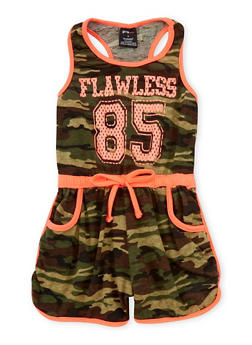 Girls 7-16 Flawless Graphic Camouflage Romper - 1619038340020