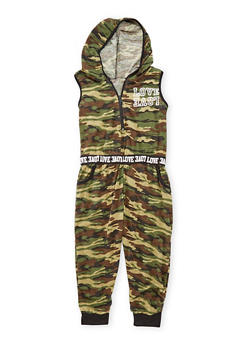 Girls 7-16 Hooded Camo Jumpsuit - 1619038340024