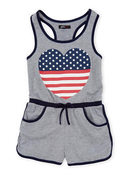 Girls 7-16 Americana Heart Graphic Romper - 1619038340026