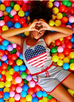 Girls 7-16 Americana Heart Graphic Romper - 1619038340026