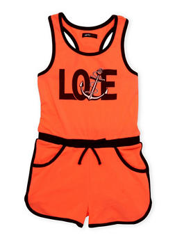 Girls 7-16 Love Anchor Graphic Romper with Contrast Trim - 1619038340027