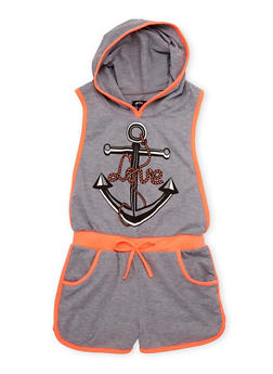 Girls 7-16 Hooded Love Anchor Graphic Romper with Open Sides - 1619038340028