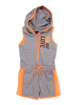 Girls 4-16 Hooded Romper with Love 85 Graphic - 1619038340031