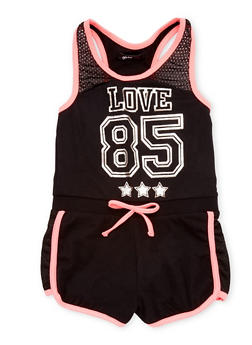 Girls 7-16 Love 85 Graphic Romper with Mesh Accent - 1619038340032