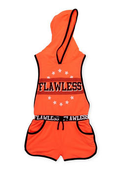 Girls 7-16 Flawless Graphic Hooded Romper with Open Sides - 1619038340033