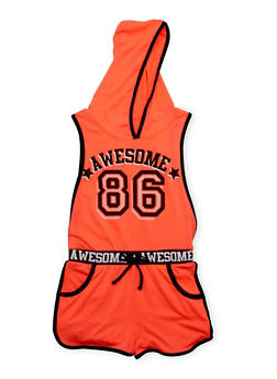 Girls 7-16 Awesome 86 Graphic Romper with Open Sides - 1619038340035