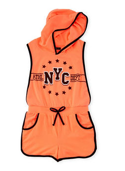 Girls 7-16 Athletic NYC Graphic Romper - 1619038340037