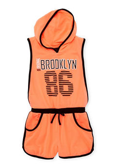 Girls 7-16 Sleeveless Hooded Romper with Brooklyn Graphic - 1619038340038