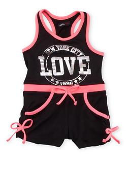 Girls 7-16 Love NYC 1986 Graphic Tank Romper - 1619038340039