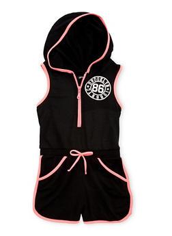 Girls 7-16 Sleeveless Hooded Graphic Zip Romper - 1619038340040