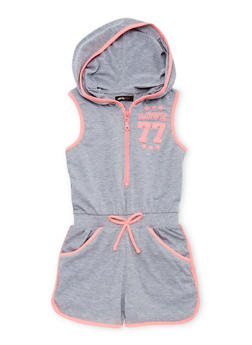Girls 7-16 Sleeveless Hooded Graphic Zip Romper - 1619038340041