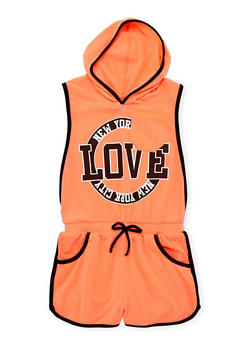 Girls 2T-16 Hooded Love NYC Graphic Romper - 1619038340042