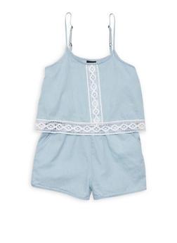 Girls 7-16 Sleeveless Crochet Trim Chambray Romper - 1619038340045