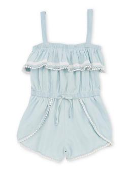 Girls 7-16 Sleeveless Crochet Trimmed Denim Romper - 1619038340050