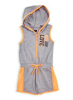 Girls 7-16 Love Graphic Zip Up Romper - HGRY/NORG - 1619038340054