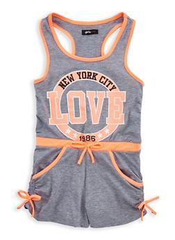 Girls 7-16 Love Graphic Romper - 1619038340057