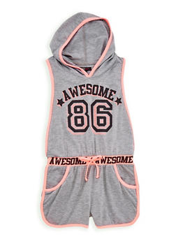 Girls 7-16 Awesome Graphic Romper - 1619038340060
