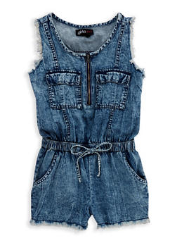 Girls 7-16 Frayed Denim Romper - 1619038340093