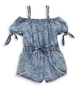 Girls 7-16 Acid Wash Crochet Trim Denim Romper - 1619038340095
