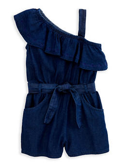 Girls 7-16 One Shoulder Denim Romper - 1619038340099