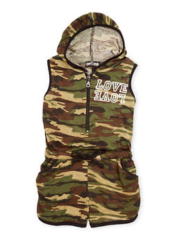 Girls 2T-16 Hooded Camouflage Love Graphic Romper - 1619038349811