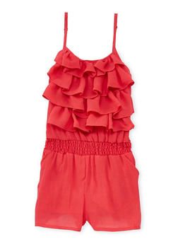 Girls 7-16 Tiered Ruffle Romper with Smock Waist - 1619051060003