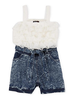 Girls 7-16 Ruffled Lace Denim Romper - 1619051060009