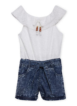 Girls 7-16 Crochet Acid Wash Denim Romper with Belt - 1619051060010