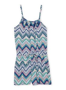 Girls 7-16 Printed Soft Knit Romper with Tassel Trim - BLUE - 1619051060012
