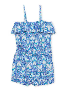 Girls 7-16 Sleeveless Printed Romper with Ruffle Overlay - BLUE - 1619051060013