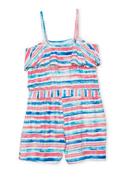 Girls 7-16 Sleeveless Printed Romper with Ruffle Overlay - MULTI COLOR - 1619051060013
