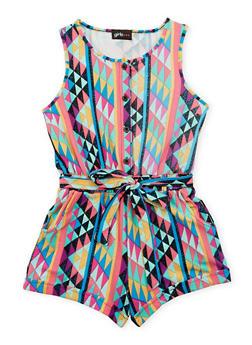 Girls 7-16 Multi Color Printed Romper with Sash Belt - FUCHSIA - 1619051060096