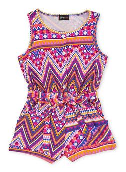 Girls 7-16 Sleeveless Printed Romper with Sash Belt - MULTI COLOR - 1619051060097