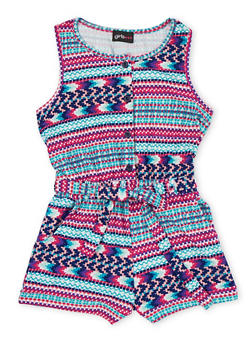 Girls 7-16 Printed Button Front Romper with Sash Belt - FUCHSIA - 1619051060098