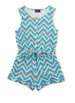 Girls 7-16 Printed Romper with Sash Belt - TURQUOISE - 1619051060099