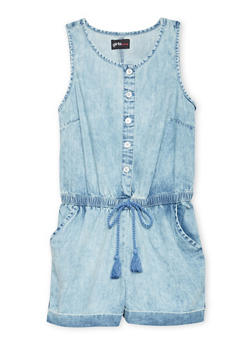 Girls 7-16 Sleeveless Denim Romper with Tabbed Cuffs - 1619051060100