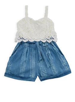 Girls 7-16 Sleeveless Crochet Denim Romper - 1619051060101